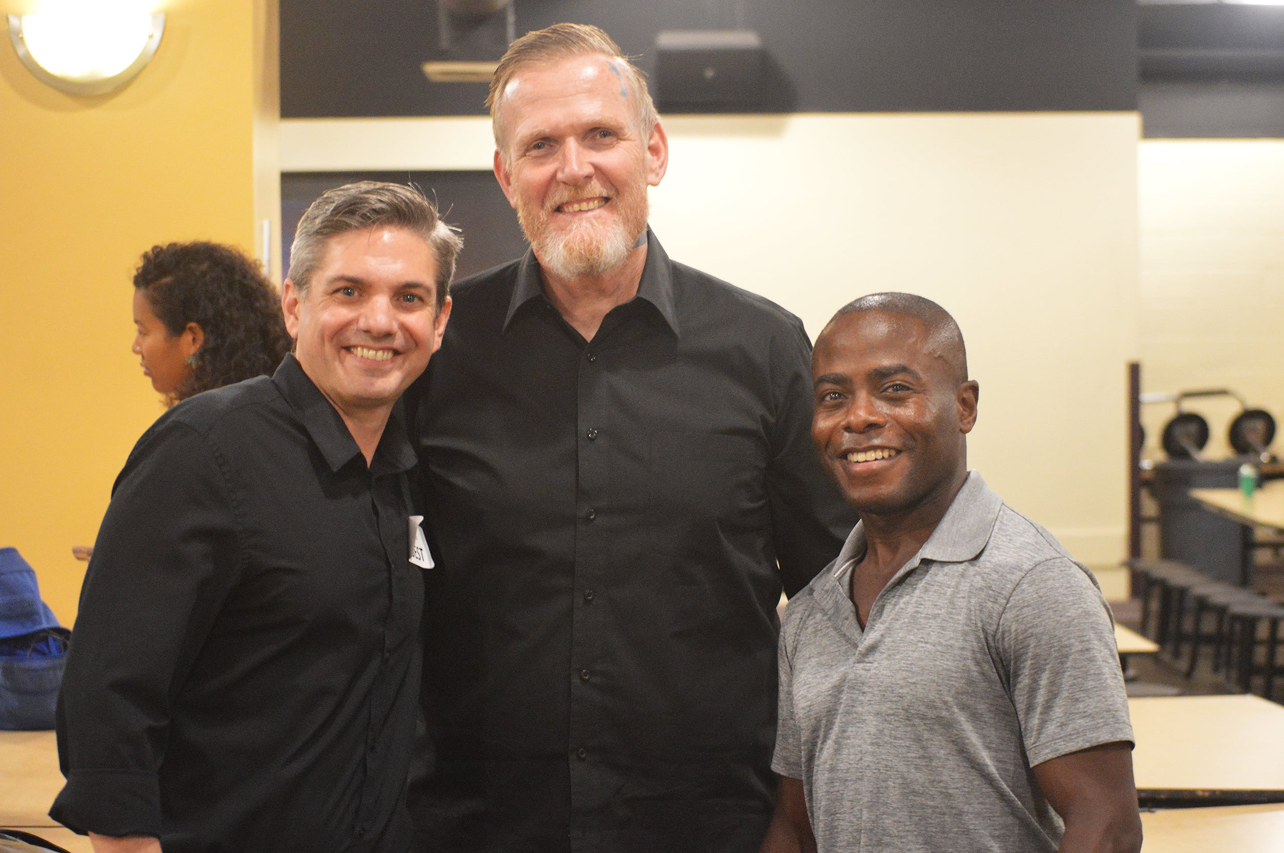 Anthony McGill, 2018-19 Shaheen & Anil Nanji Guest Artist-in-Residence, and Todd Strange, a tenor with the LA Master Chorale, with composer Benjamin Shirley.