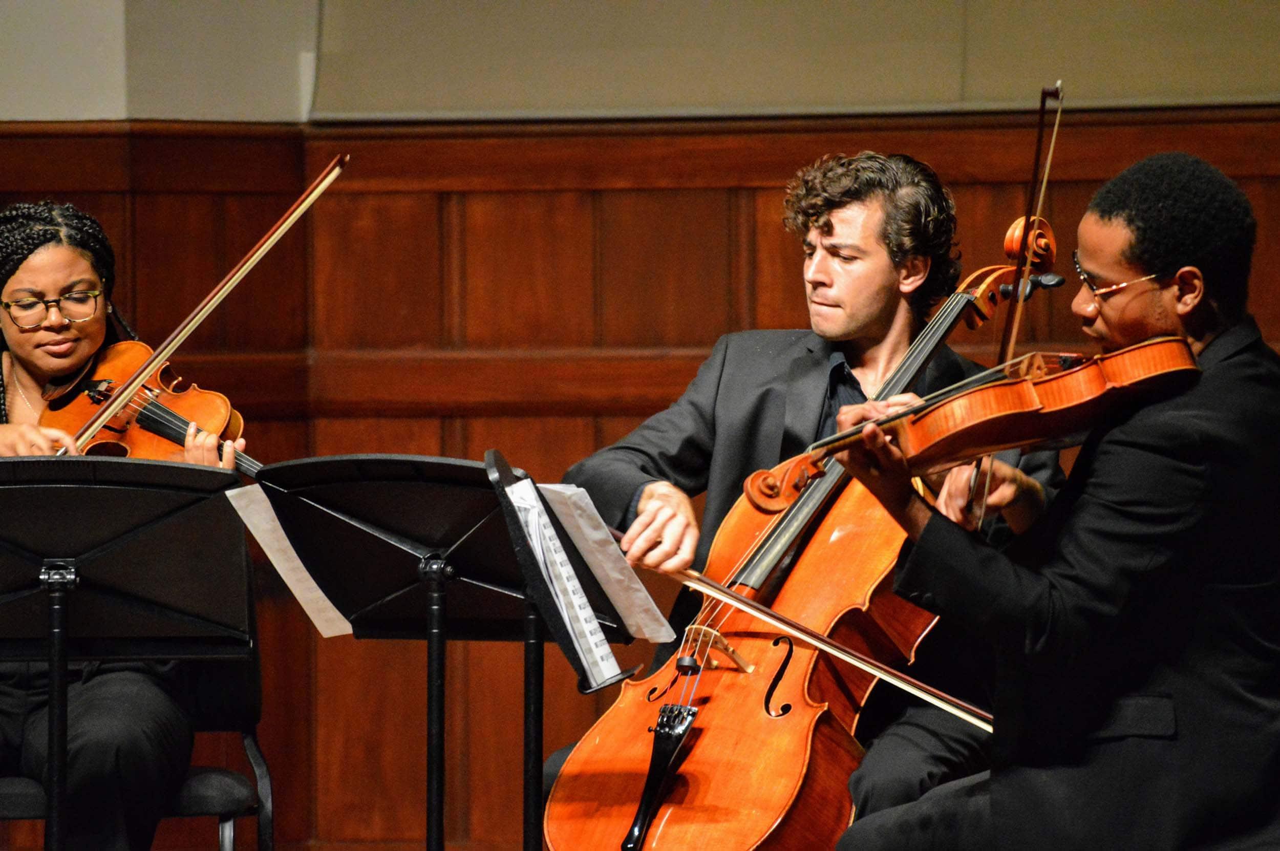 Sydney Adedamola (violin), Juan-Salvador Carrasco (cello) and Bradley Parrimore (viola)