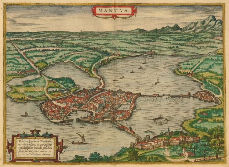 Old, antique map of Mantua by Braun & Hogenberg